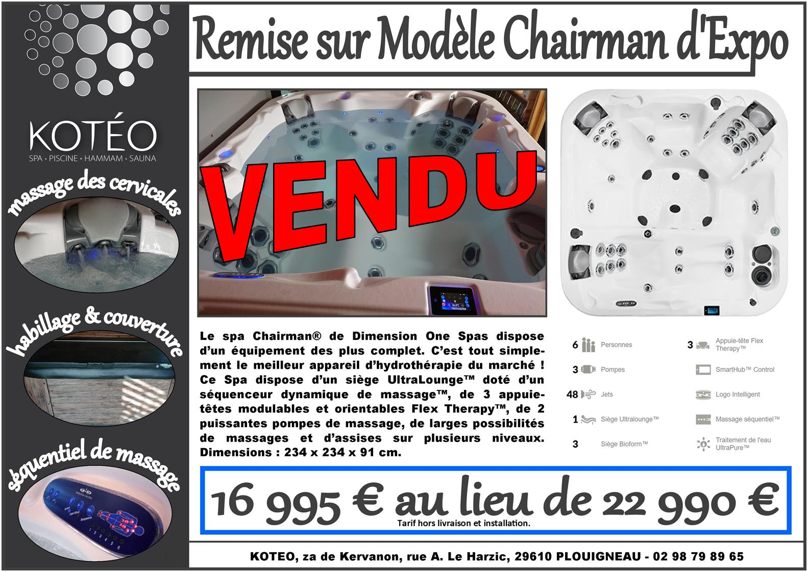 Remise Sur Spa D'Expo, Modèle Chairman De Dimension One Spa.